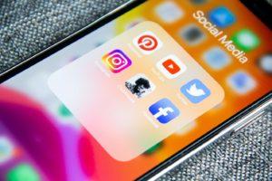 Social media apps on phone screen