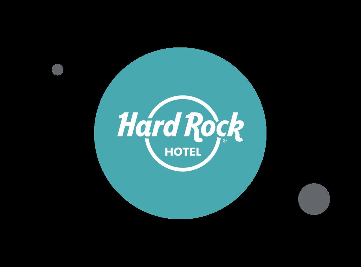 Hard Rock Hotel logo in a teal circle