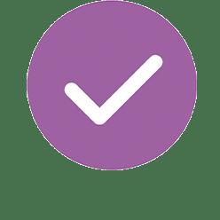 Check mark in purple circle.