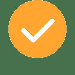 Check mark in yellow circle