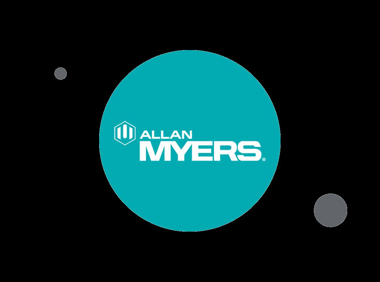 Allan Myers logo within teal circle