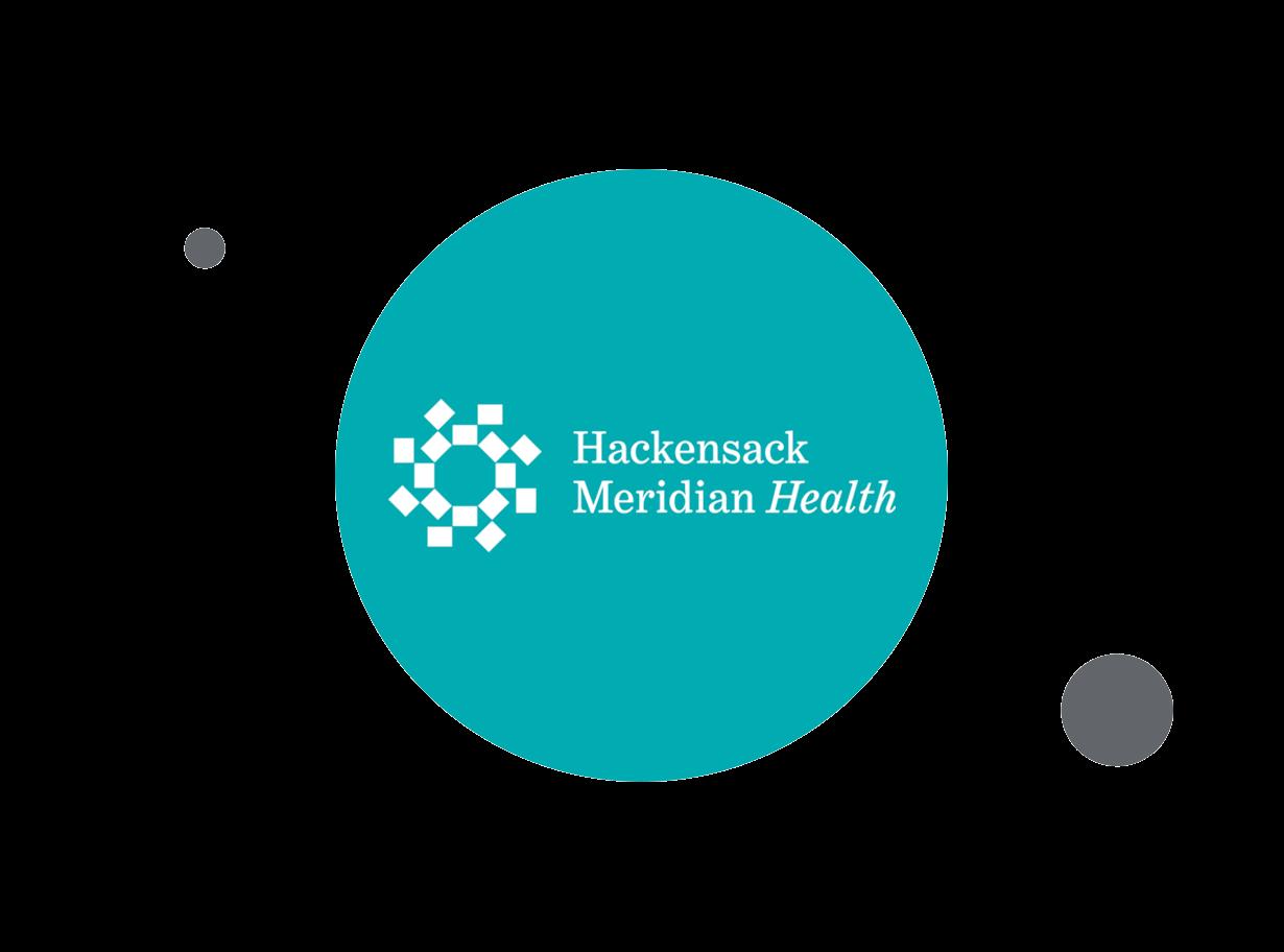 Hackensack Meridian Health logo within teal circle