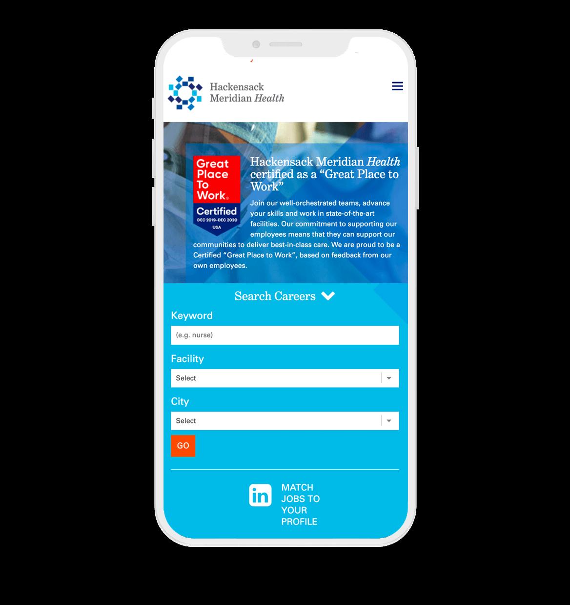 Mobile phone screen displaying Hackensack Meridian Health careers page