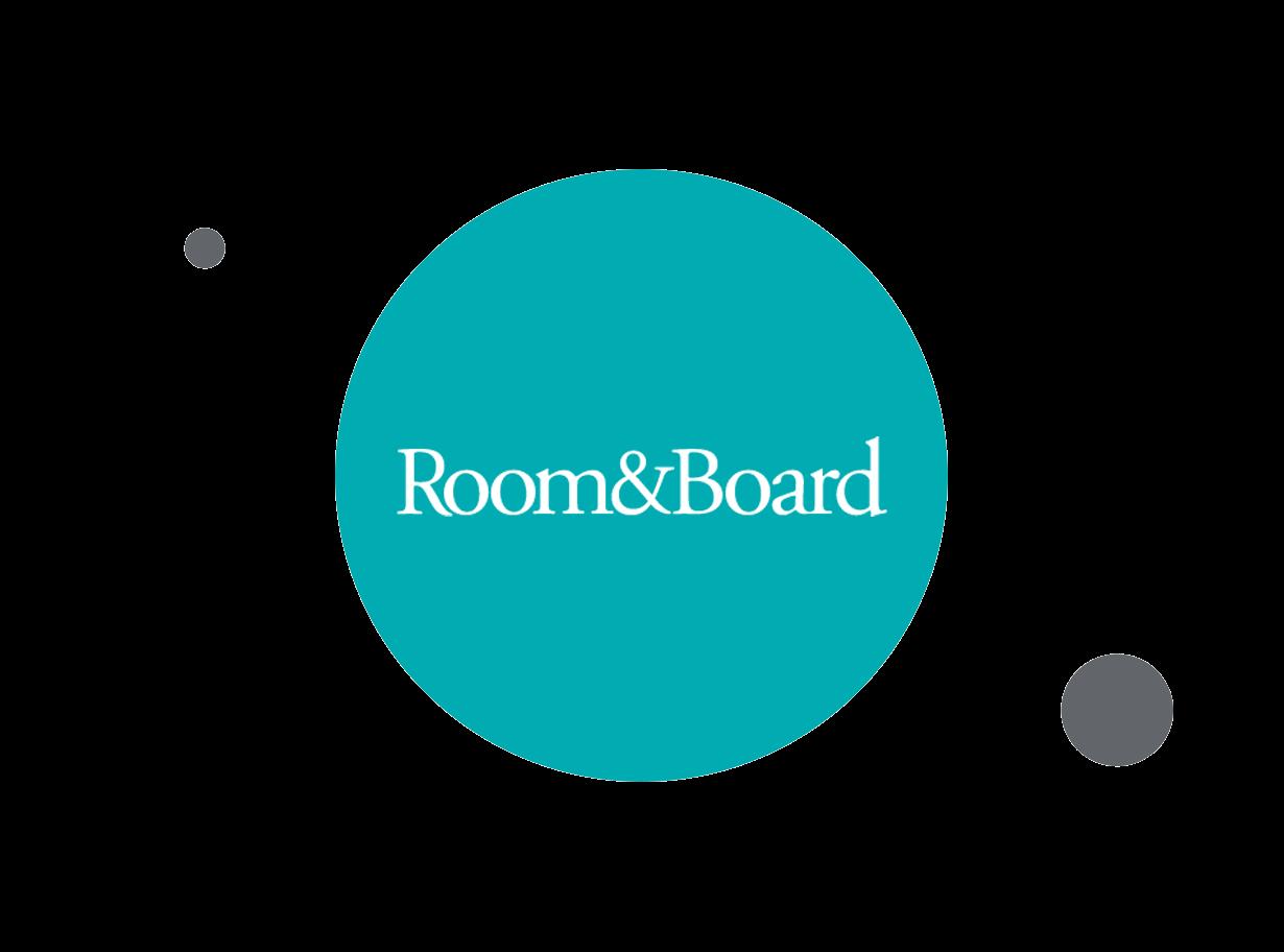 Room&Board teal background logo