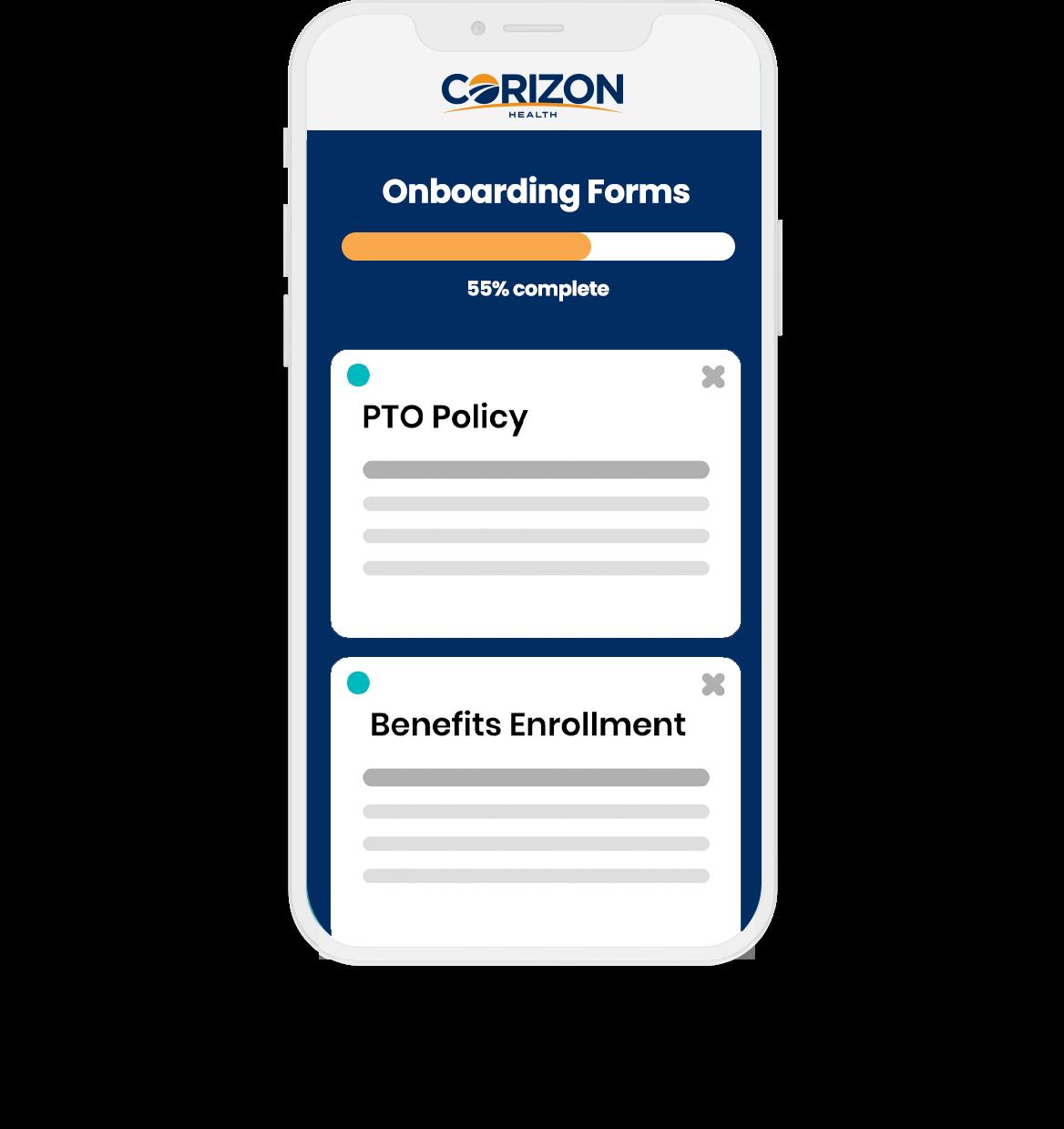 Corizon Health onboarding application