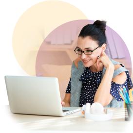 Employee watching webinar on laptop
