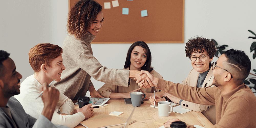six employees meeting