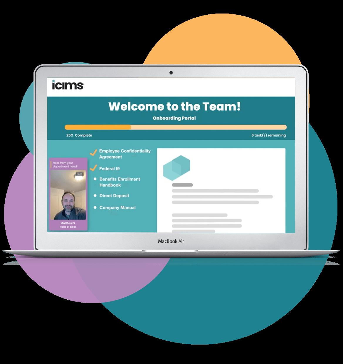 Screenshot of iCIMS' new hire employee onboarding portal